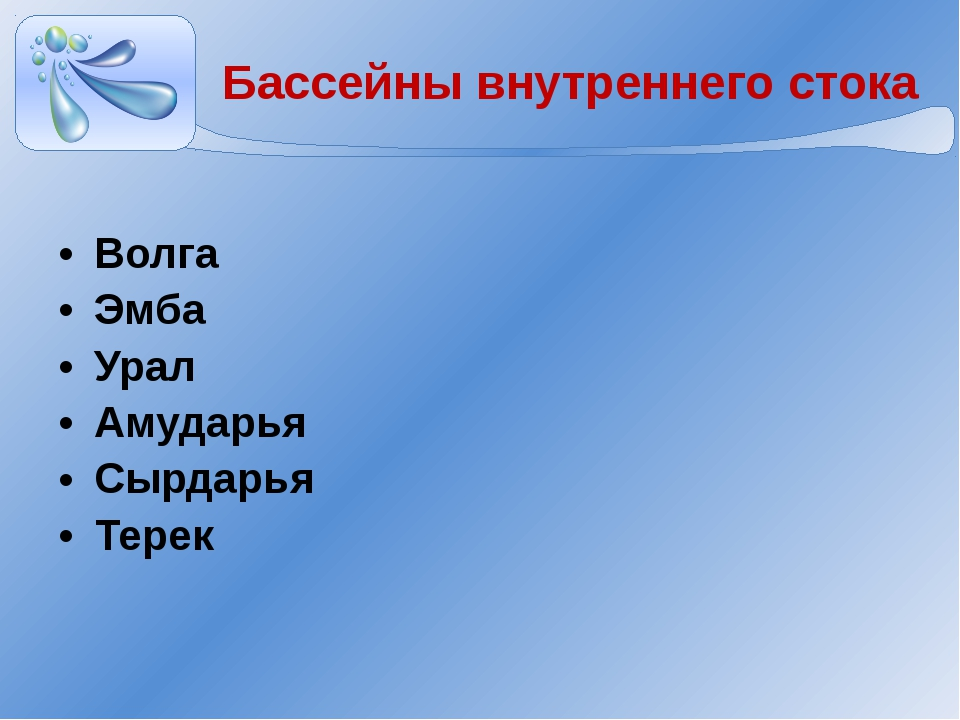 Бассейны внутреннего стока Волга Эмба Урал Амударья Сырдарья Терек