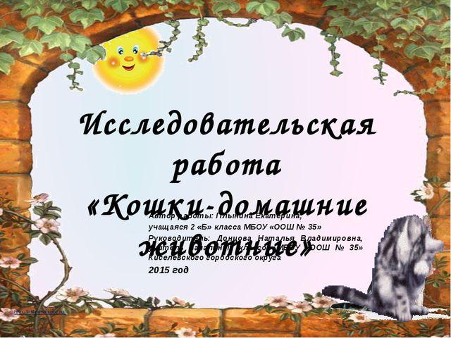 Автор работы: Плынина Екатерина, учащаяся 2 «Б» класса МБОУ «ООШ № 35» Руков...