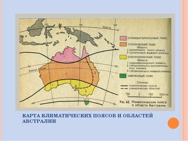 КАРТА КЛИМАТИЧЕСКИХ ПОЯСОВ И ОБЛАСТЕЙ АВСТРАЛИИ