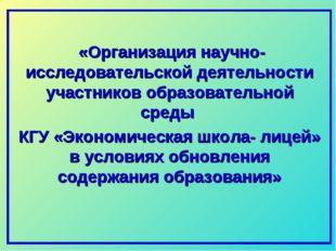 «Организация научно-исследовательской деятельности участников образовательно