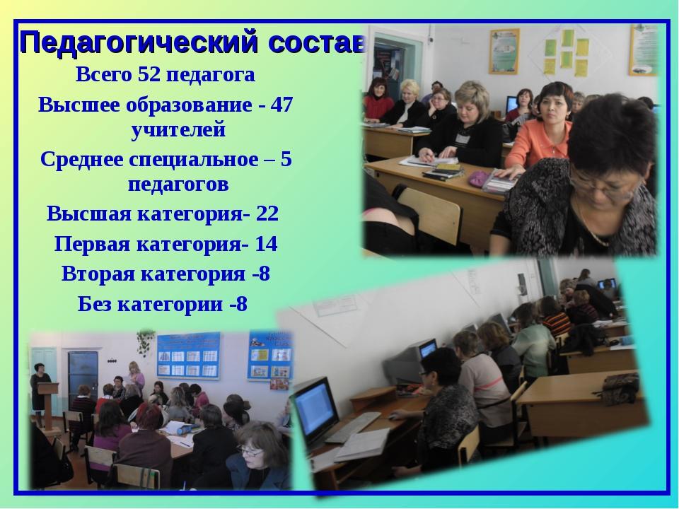 Педагогический состав Всего 52 педагога Высшее образование - 47 учителей Сред...