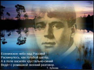 Есенинское небо над Россией Раскинулось, как голубой шатёр, А в поле василёк