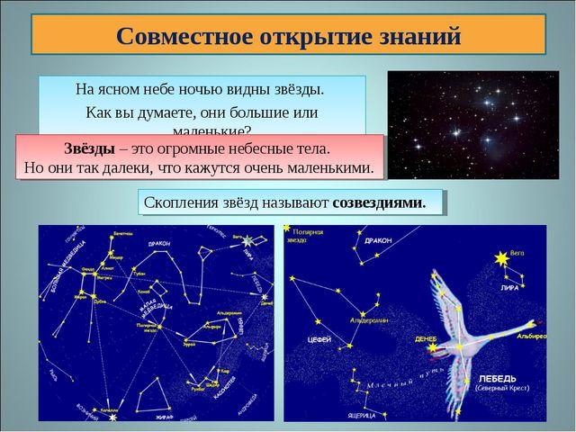 На ясном небе ночью видны звёзды. Как вы думаете, они большие или маленькие?...