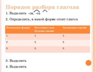 Порядок разбора глагола 1. Выделить -ся, -сь 2. Определить, в какой форме сто