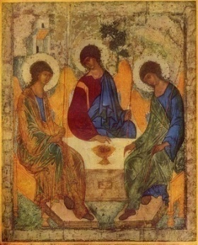 Троица (икона Андрея Рублёва, ~1422-1427, Москва, Третьяковская галерея) - Троица