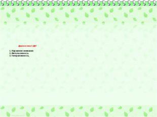 Диагностика СДВГ 1. Нарушение внимания 2. Импульсивность 3. Гиперактивность