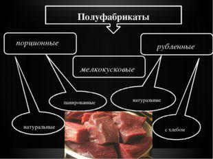 Полуфабрикаты порционные мелкокусковые рубленные натуральные панированные на