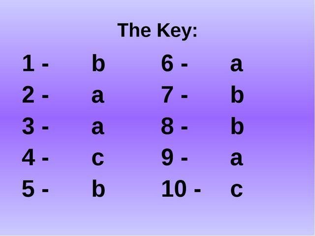 The Key: 1 - b 6 - a 2 - a 7 - b 3 - a 8 - b 4 - c 9 - a 5 - b 10 - c