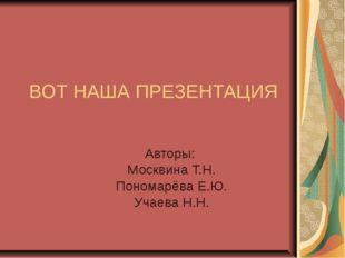 ВОТ НАША ПРЕЗЕНТАЦИЯ Авторы: Москвина Т.Н. Пономарёва Е.Ю. Учаева Н.Н.