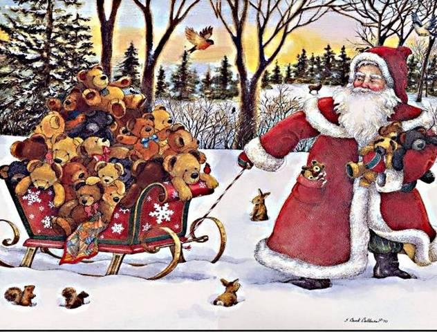 Дед Мороз тянет санки со зверями