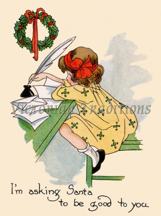 Old Xmas Card(girl is writing a letter)