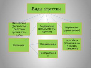 Виды агрессии Физическая (физические действия против кого-либо) Раздражение (