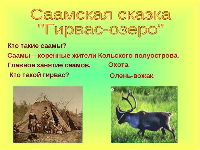 Кто такие саамы? Саамы – коренные жители Кольского полуострова. Главное занят...