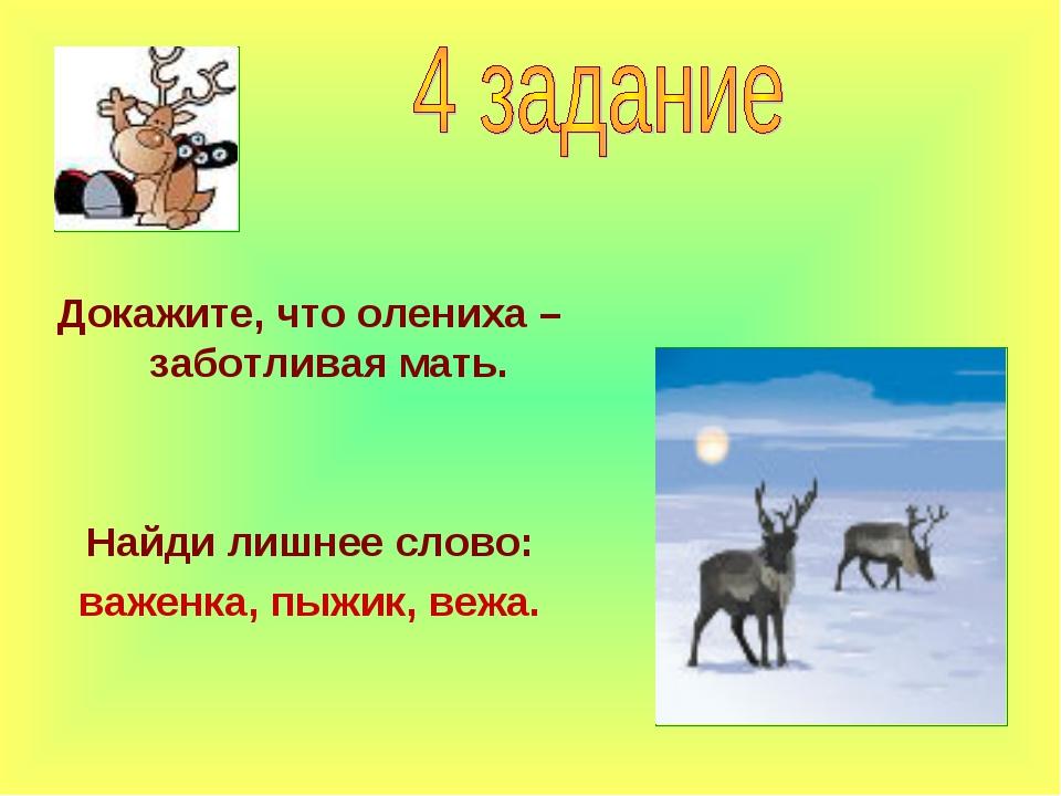 Докажите, что олениха – заботливая мать. Найди лишнее слово: важенка, пыжик,...