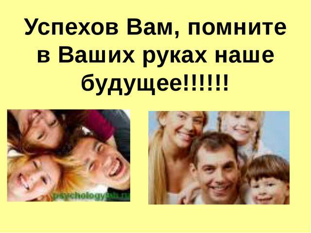 Успехов Вам, помните в Ваших руках наше будущее!!!!!!