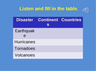 Listen and fill in the table. DisasterContinentsCountries Earthquake Hurr