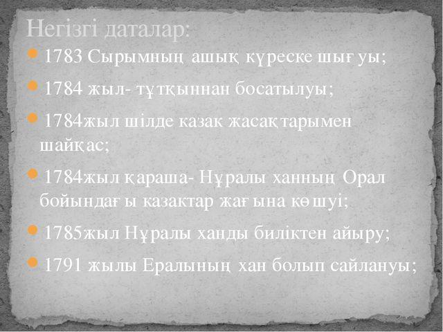 1783 Сырымның ашық күреске шығуы; 1784 жыл- тұтқыннан босатылуы; 1784жыл шілд...