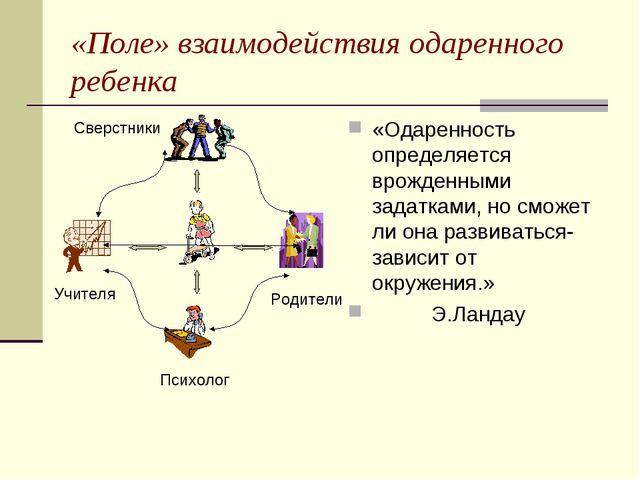 «Поле» взаимодействия одаренного ребенка «Одаренность определяется врожденным...