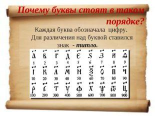 Почему буквы стоят в таком порядке? Каждая буква обозначала цифру. Для различ
