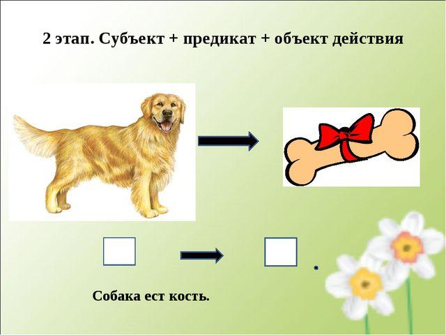 Собака ест кость. 2 этап. Субъект + предикат + объект действия