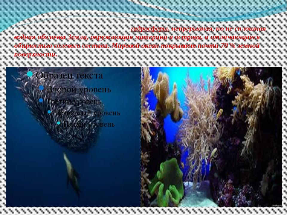Мирово́й океа́н— основная частьгидросферы, непрерывная, но не сплошная водн...