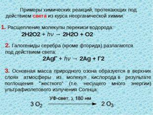 Примеры химических реакций, протекающих под действием света из курса неорган