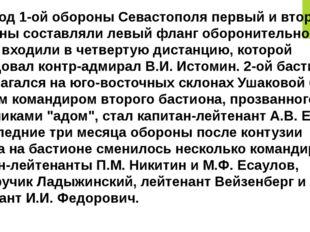 В период 1-ой обороны Севастополя первый и второй бастионы составляли левый ф