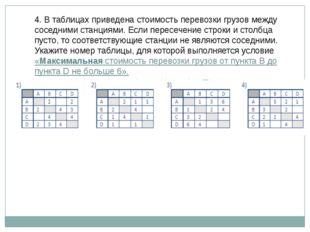 4. В таблицах приведена стоимость перевозки грузов между соседними станциями.