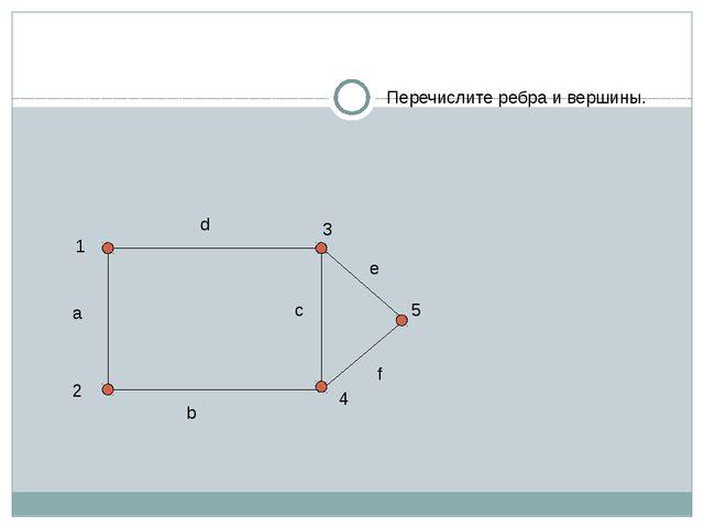 Перечислите ребра и вершины. 1 2 3 4 5 a b c d e f