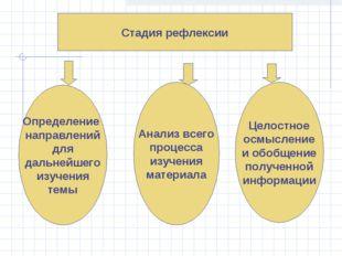 Стадия рефлексии Определение направлений для дальнейшего изучения темы Анализ
