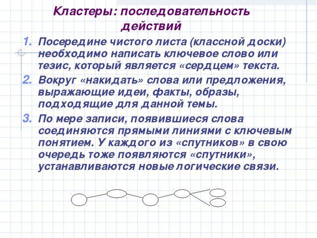Кластеры: последовательность действий Посередине чистого листа (классной доск...