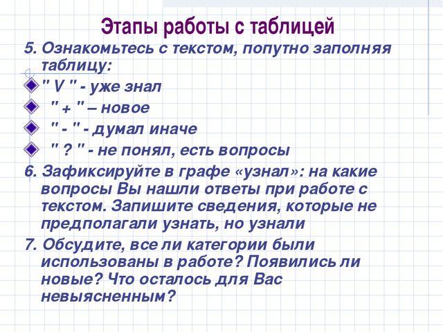 Этапы работы с таблицей 5. Ознакомьтесь с текстом, попутно заполняя таблицу:...