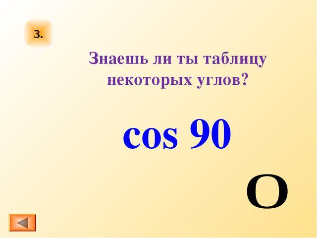 cos 90 Знаешь ли ты таблицу некоторых углов? 3.