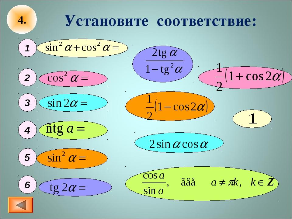 Установите соответствие: 1 2 3 4 5 6 4.
