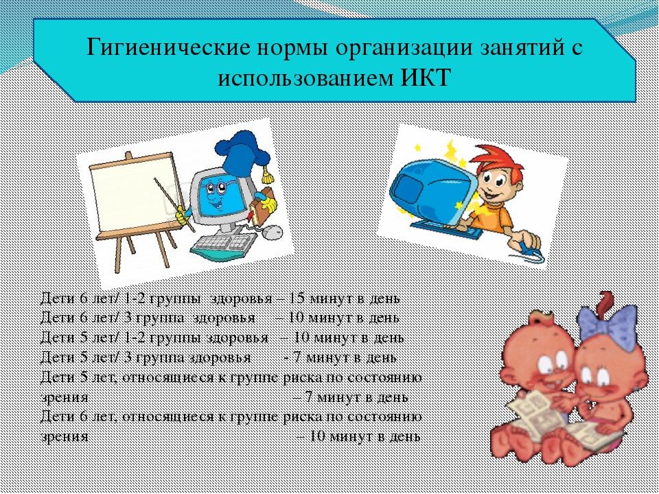 Дети 6 лет/ 1-2 группы здоровья – 15 минут в день Дети 6 лет/ 3 группа здоров...