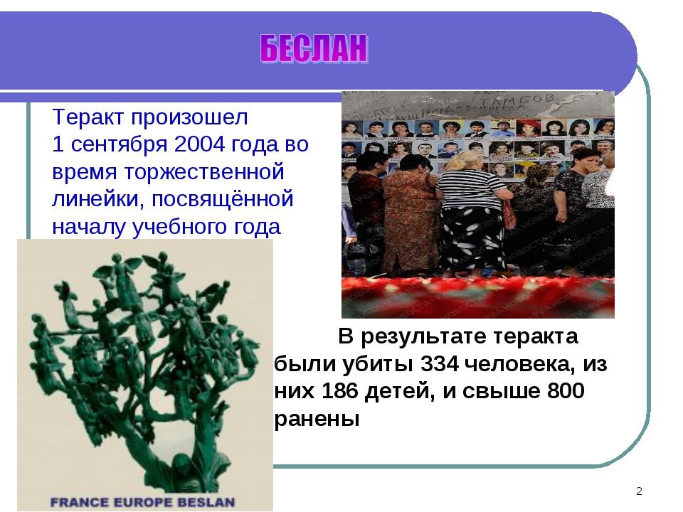 * Теракт произошел 1 сентября 2004 года во время торжественной линейки, посвя...