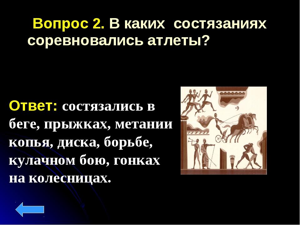 Вопрос 2. В каких состязаниях соревновались атлеты? Ответ: состязались в бег...
