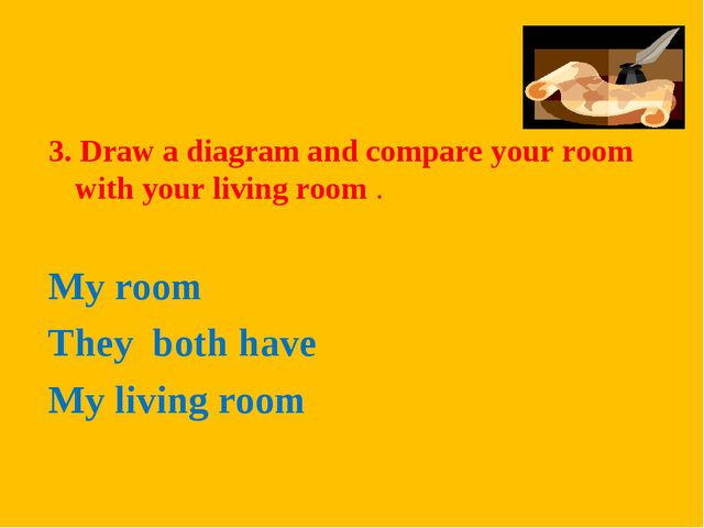 3. Draw a diagram and compare your room with your living room . My room They...