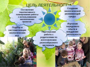 ЦЕЛЬ ДЕЯТЕЛЬНОСТИ Создание экологической развивающей среды Подбор и системати