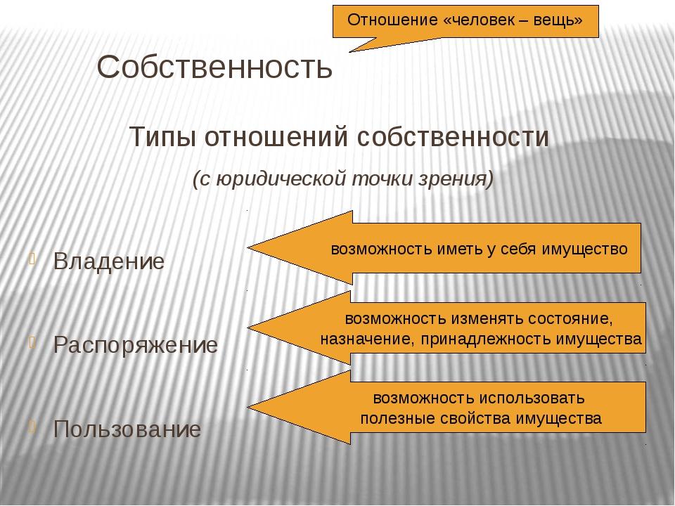 Собственность Типы отношений собственности  (с юридической точки зрения) В...
