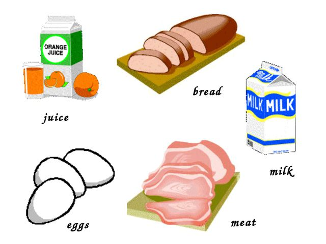 meat bread eggs milk juice
