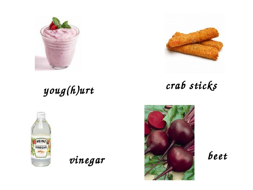 vinegar youg(h)urt crab sticks beet