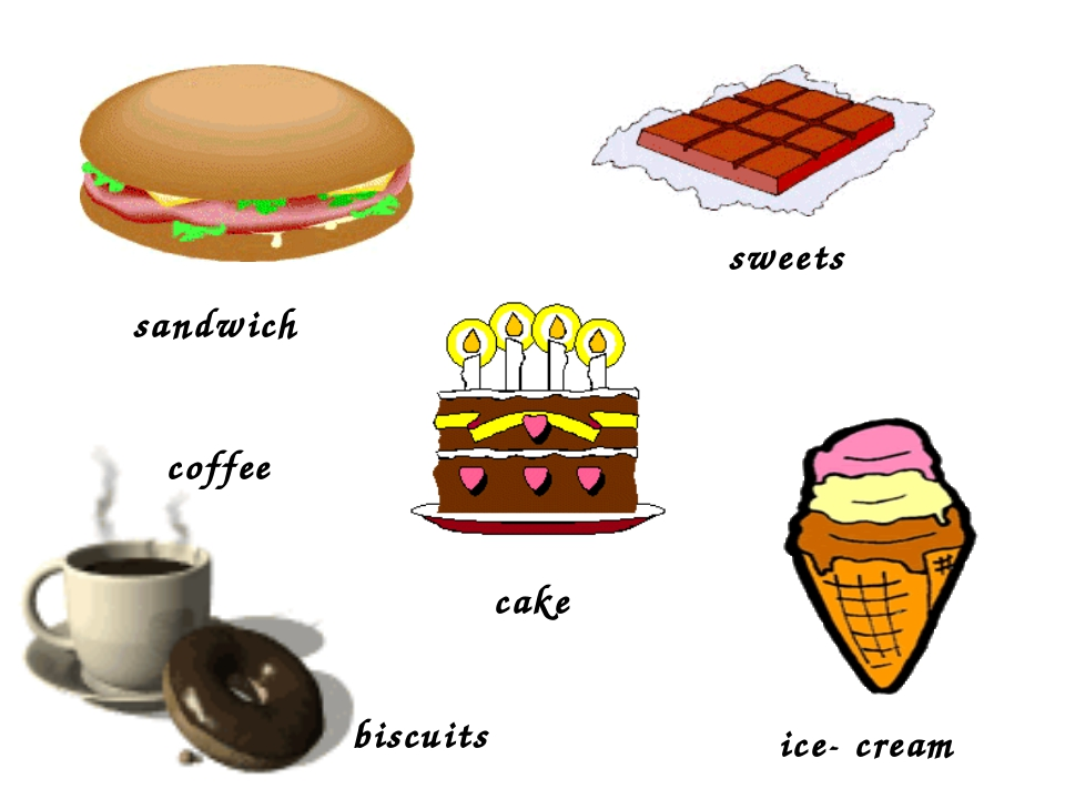 sandwich sweets ice- cream cake coffee biscuits