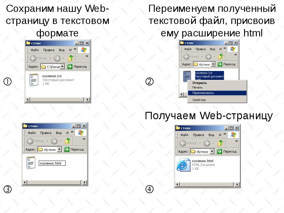 Сохраним нашу Web-страницу в текстовом формате Переименуем полученный текстов...