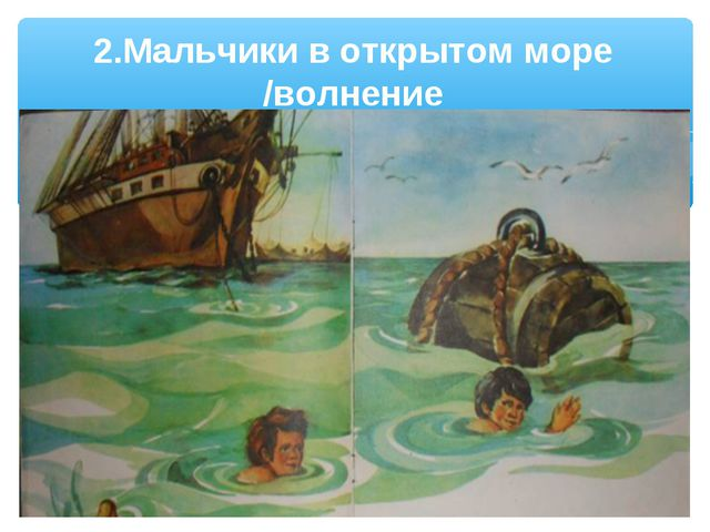 2.Мальчики в открытом море /волнение
