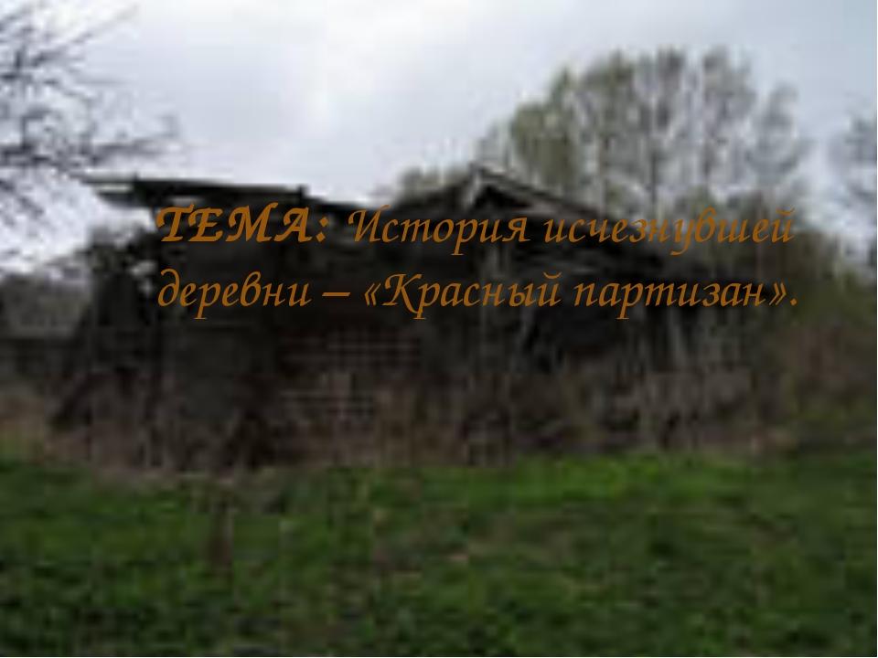 ТЕМА: История исчезнувшей деревни – «Красный партизан».