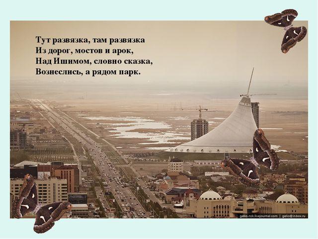 Тут развязка, там развязка Из дорог, мостов и арок, Над Ишимом, словно сказка...