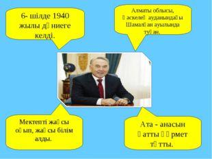 6- шілде 1940 жылы дүниеге келді. Алматы облысы, Қаскелең ауданындағы Шамалға