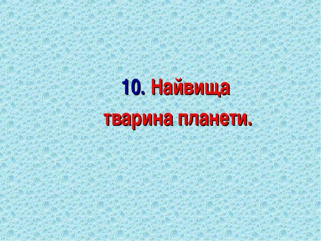 10. Найвища тварина планети.