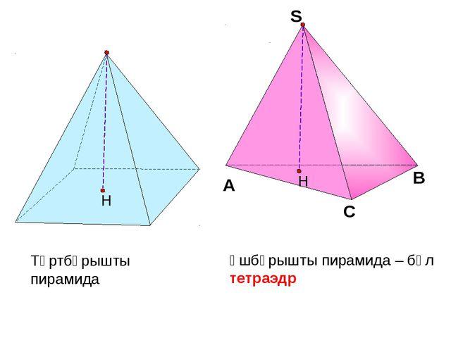 Үшбұрышты пирамида – бұл тетраэдр Төртбұрышты пирамида С А В S S Н Н